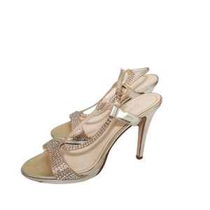 Caparros Gold Crystal Studded Strappy Heels 7.5